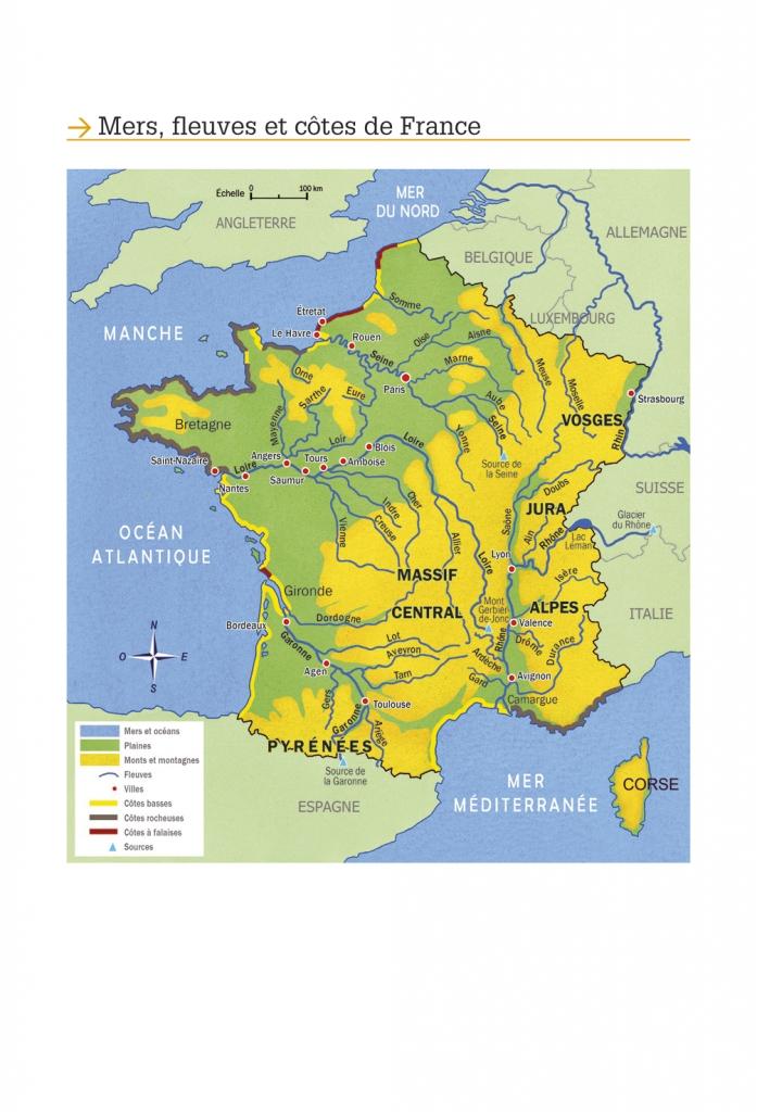 Carte des fleuves, côtes et mers de France